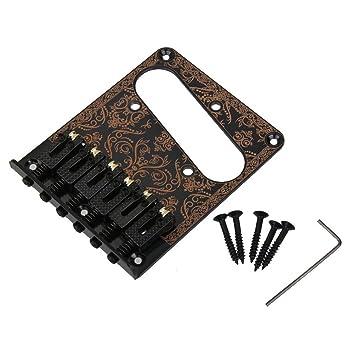 Tinksky 6 silletas para puente para Fender Tele telecaster Guitarra eléctrica Negro Cromo