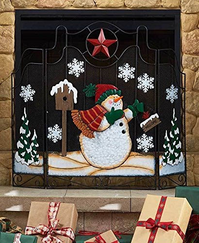 Christmas Snowman Fireplace Brass Iron Fireplace Fender