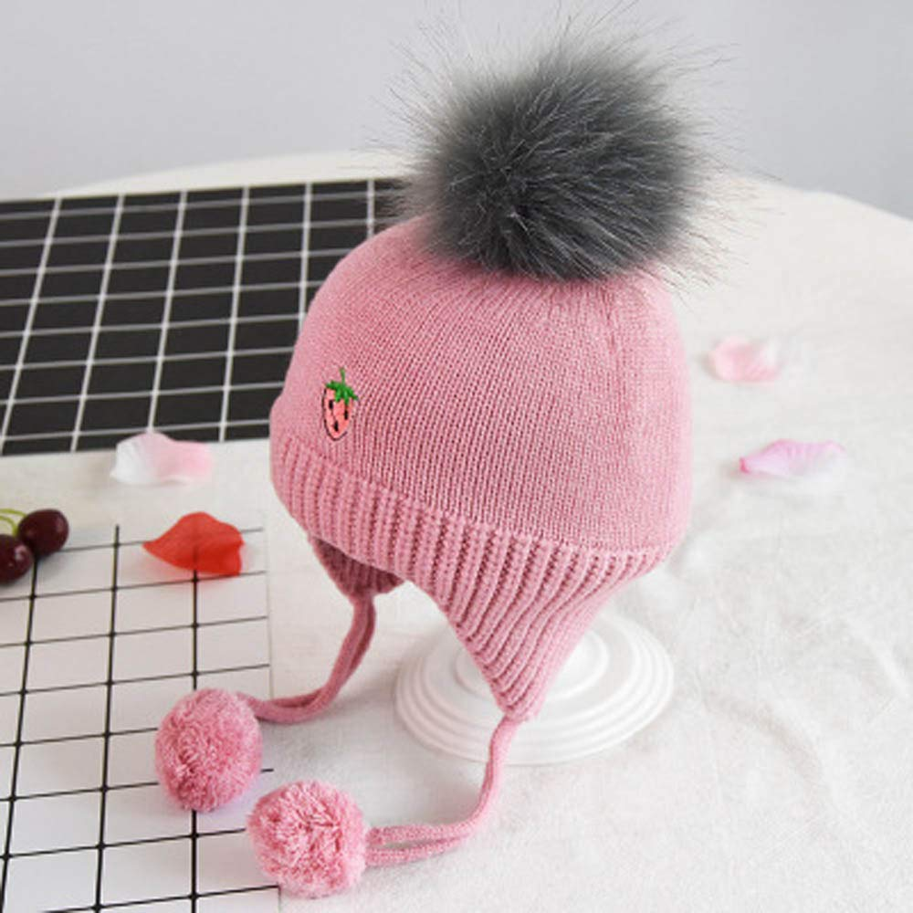 06819980febc Amazon.com  Fheaven Newborn Baby Girls Winter Hat Fruit Print ...