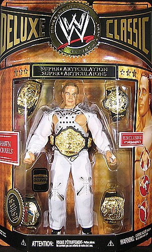WWE Wrestling Classic Deluxe Exclusive Action Figure Shawn Michaels Wrestlemania 12 Entrance Gear with 5 Championship Diecast Belts! (Wwe Michaels Shawn Toy)