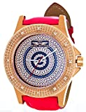 Mens King Master Diamond Watch Rose Gold Tone Red Band