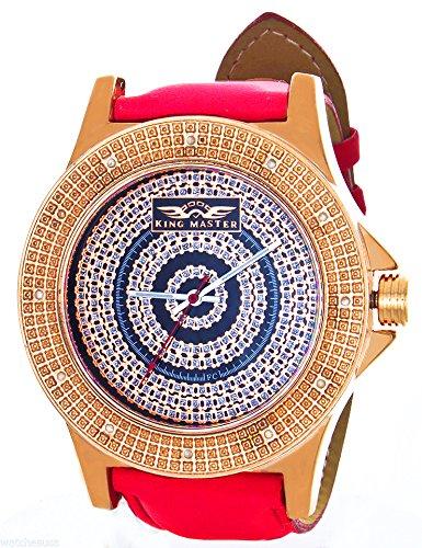 King Diamond Watch Master (Mens King Master Diamond Watch Rose Gold Tone Red Band)
