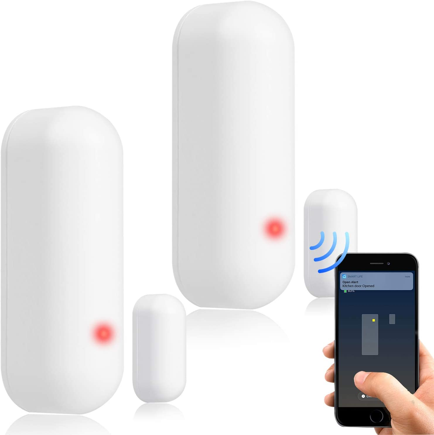 WiFi Smart Door Sensor Chime Window Entry Alarm, APP Control Wireless Security System with Push Notification, Universal Installation,Compatible with Amazon Alexa, Google Home, IFTTT (2 pack)