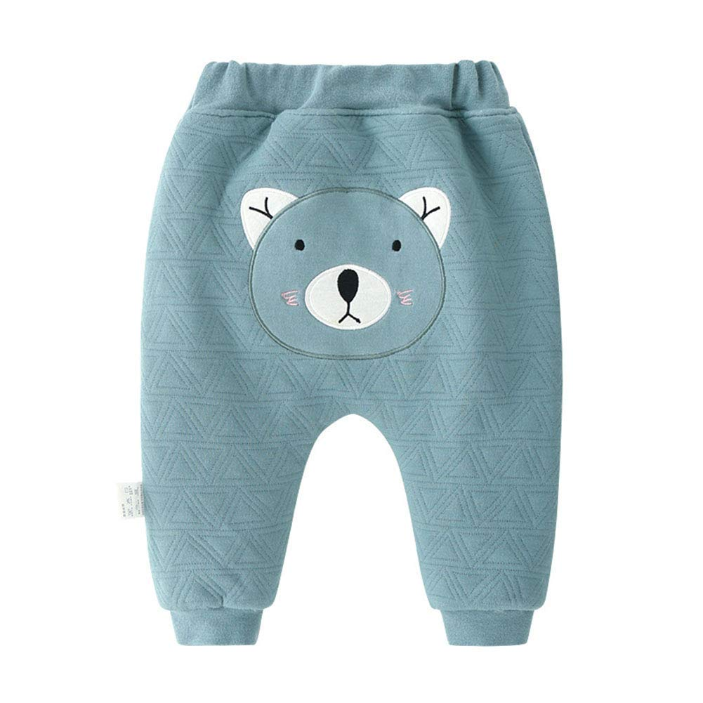 Toddler Boys Girls Winter Warm Pants Infant Embroidery Thick Fleece Trousers