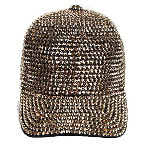 Rhinestone Studded Baseball Cap Bling Bling Cotton Hat Hip Hop Caps Fashion Hats (Rose Gold)