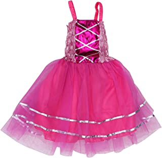 BESTOYARD Ragazze Tutu Dress Glitter Paillettes Balletto Dress Princess Fata Costume per Ragazze Flower Strap Athletic Body Compleanno Danc Wedding Party (Rose Red)