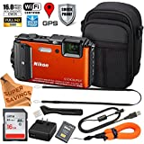 Nikon Coolpix AW130 ULTIMATE PRO BUNDLE Shock & Waterproof GPS Digital Camera (Orange - VNA842E1) + Free Super Savings Exclusive Microfiber Cloth