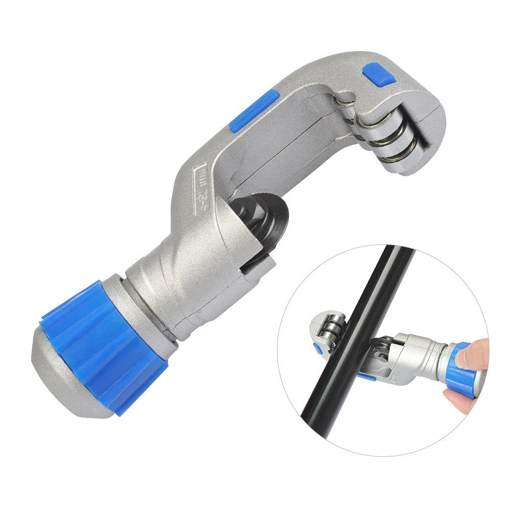 QLOUNI 1/8″- 1 1/4″(4-32mm) Heavy Duty Screw Feed Tubing Cutter PVC Stainless Steel Tube Cutter Tools