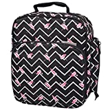 Insulated Durable Lunch Bag - Reusable Meal Tote With Handle and Pockets - Flamingo