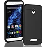 BLU Studio X8 HD case, {NFW} Tough Hybrid + Dual Layer Shockproof Drop Protection Metallic Brushed Case Cover for Studio X8 HD (S530) (VGC Black)