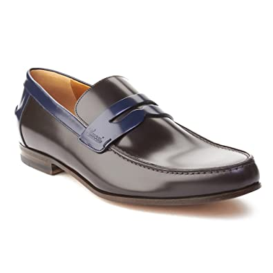 Men's Leather Two-Tone Loafer Shoes Dark Brown Royal Blue