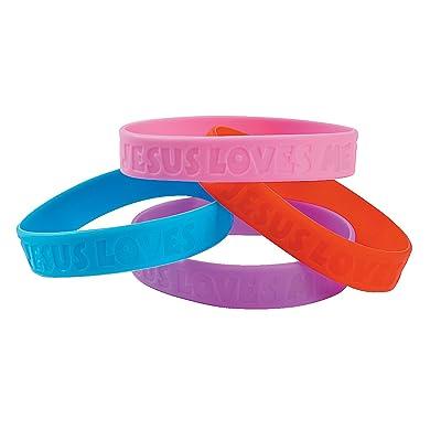 Fun Express - Jesus Loves Me Rubber Bracelet - Jewelry - Bracelets - Rubber Bracelets - 30 Pieces: Toys & Games