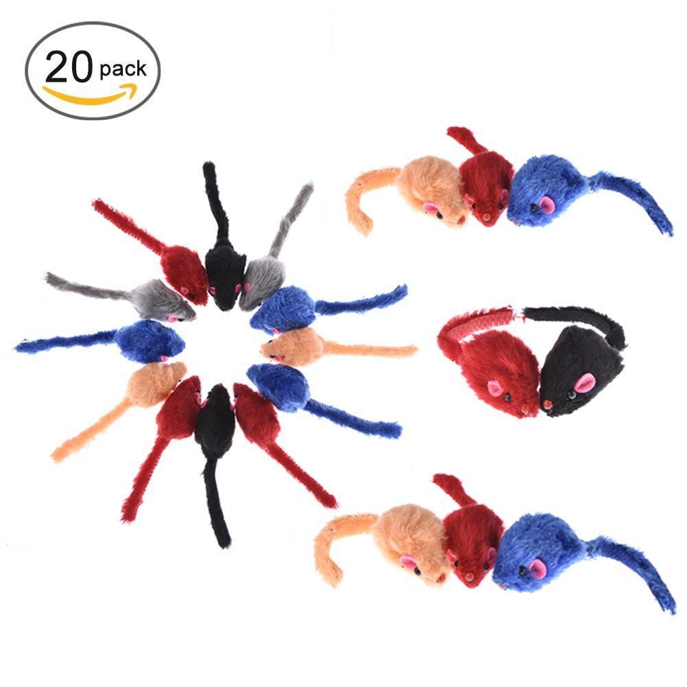 yunt 20pcs juguete ratón para gatos Ratón colorées en peluches corta con sonido (color aleatorio): Amazon.es: Productos para mascotas