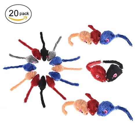 yunt 20pcs juguete ratón para gatos Ratón colorées en peluches corta con sonido (color aleatorio)