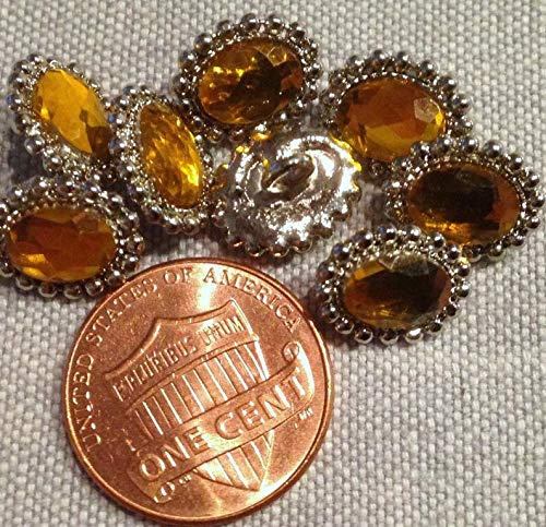 (8 Oval Silver Tone Metal Golden Amber Yellow Faceted Cabochon Buttons 7/16'' 11.5mm Long # 7996)