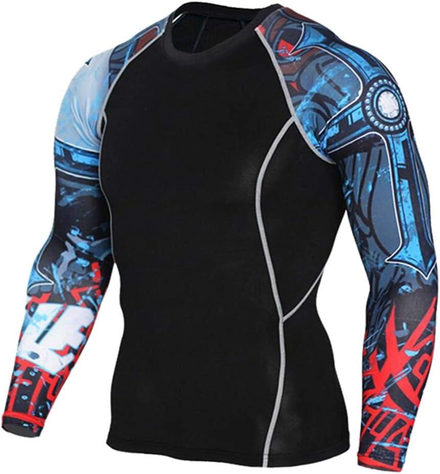 1Bests Mens Athletics Sports Compression V/êtements Serr/és /À Manches Longues 3D Imprime Courir S/échage Rapide Sportswear Ensembles