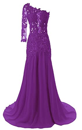 Queenworld Womens One Shoulder Sexy Mermaid Evening Prom Dresses US-12 Purple