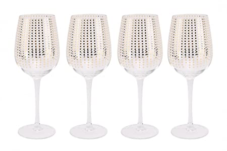 Set Of 4 Gold Polka Dot Wine Glasses In Gift Box Amazoncouk