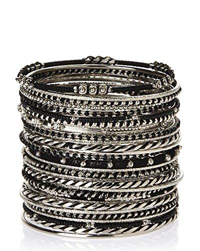 Amrita Singh 'Athena Bangle' Thin Etched Metal Bracelet Set of 29, ()