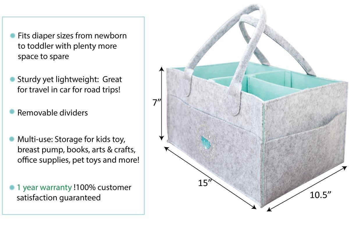 Baby Diaper Caddy Organizer - Baby Shower Gift Basket for Boys Girls   Portable Travel Car Organizer   Nursery Storage Bin for Changing Table   Newborn Registry Must Haves   Diaper Bag Tote (Grey)
