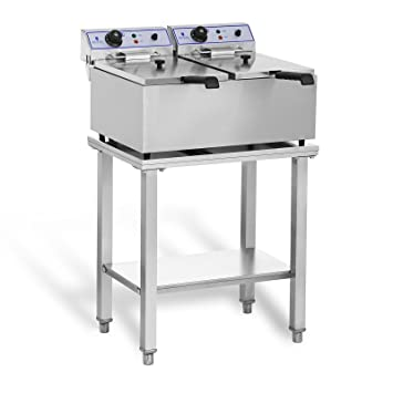 Royal Catering RCEF-SET2 Set Freidora Electrica Profesional Doble con Estante (2 x 17