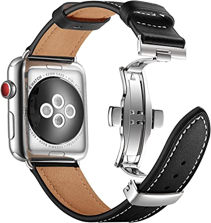 Aottom Correa de piel Pulsera para Apple Watch 44mm Series 4 Cuero ...