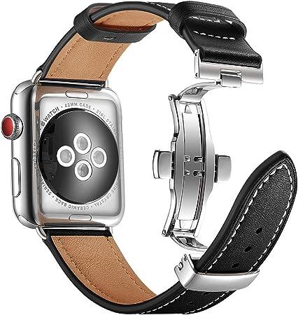 Aottom Correa Compatible con Apple Watch Series SE 6 5 4 3 2 1, Correa Reloj Cuero 42mm 44mm,Pulsera Apple Watch 5 Piel Band Reemplazo Pulseras de repuesto iWatch Correa con Apple Watch SE/6/5/4/3/2/1: Amazon.es: Electrónica