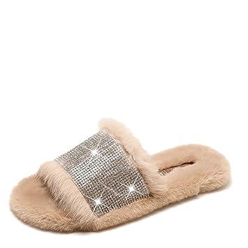 DAMENGXIANG Moda Rhinestone Decoración Lujosos Pisos Invierno Mujer Inicio Zapatillas con Piel Falsa Caliente Mujer Calzado Antideslizante,36: Amazon.es: ...