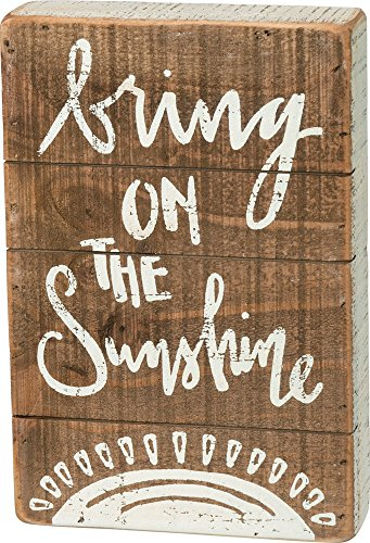 Slat Hanging Sunshine (Primitives by Kathy Bring On The Sunshine 6 Inches x 9 Inches Wood Slat Box Sign Home and Garden Decor)