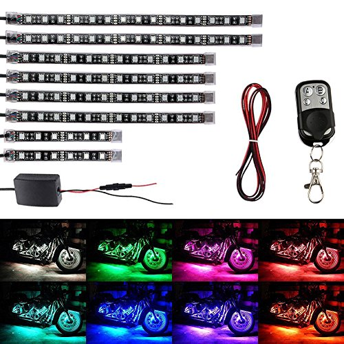 Motorcycle LED Strip Lights Kit - Aukora 8 Pcs Motorbike LED Lights Strips Multi-Color Accent Glow Neon Lights Lamp Controlled by Remote for Harley Davidson Kawasaki Honda BMW Ducati Suzuki Yamaha