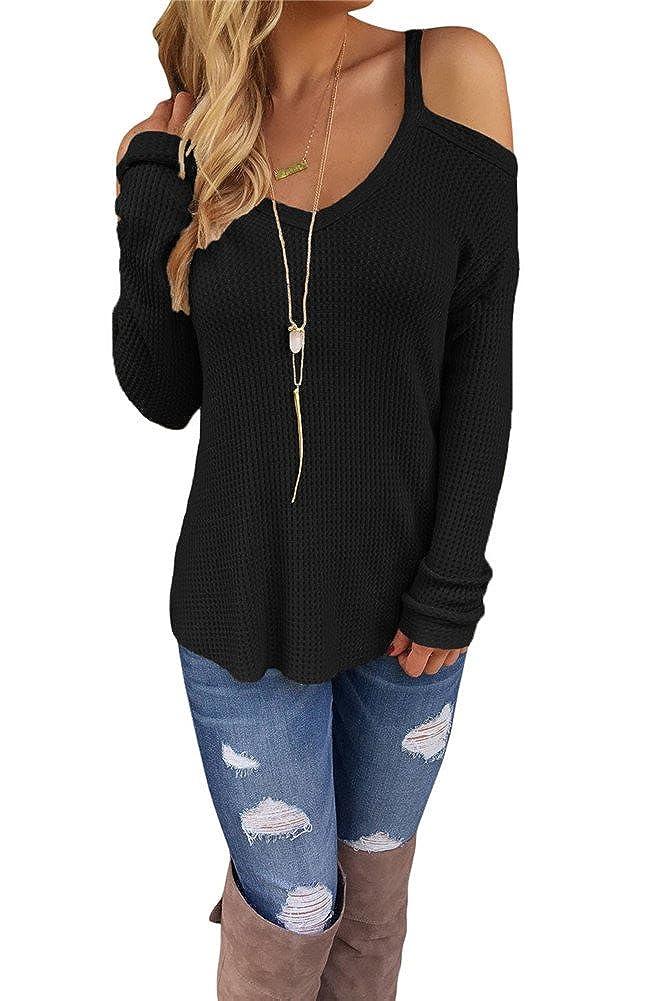 VIGVOG Acogedor de la Mujer Cold Shoulder de Punto Sweater Pullover Prendas de Punto