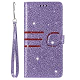 Miagon Case for Samsung Galaxy A8 2018 Glitter Wallet Magnetic Bling PU Leather Flip Folio Cover with Wrist Strap Card Pockets Holder Kickstand Protective Bumper