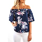 Hot Sale//Women Off Shoulder Top/Plus Size New Fashion Sleeveless Floral Printed Blouse Casual Tops T Shirt S-3XL (Navy, L)