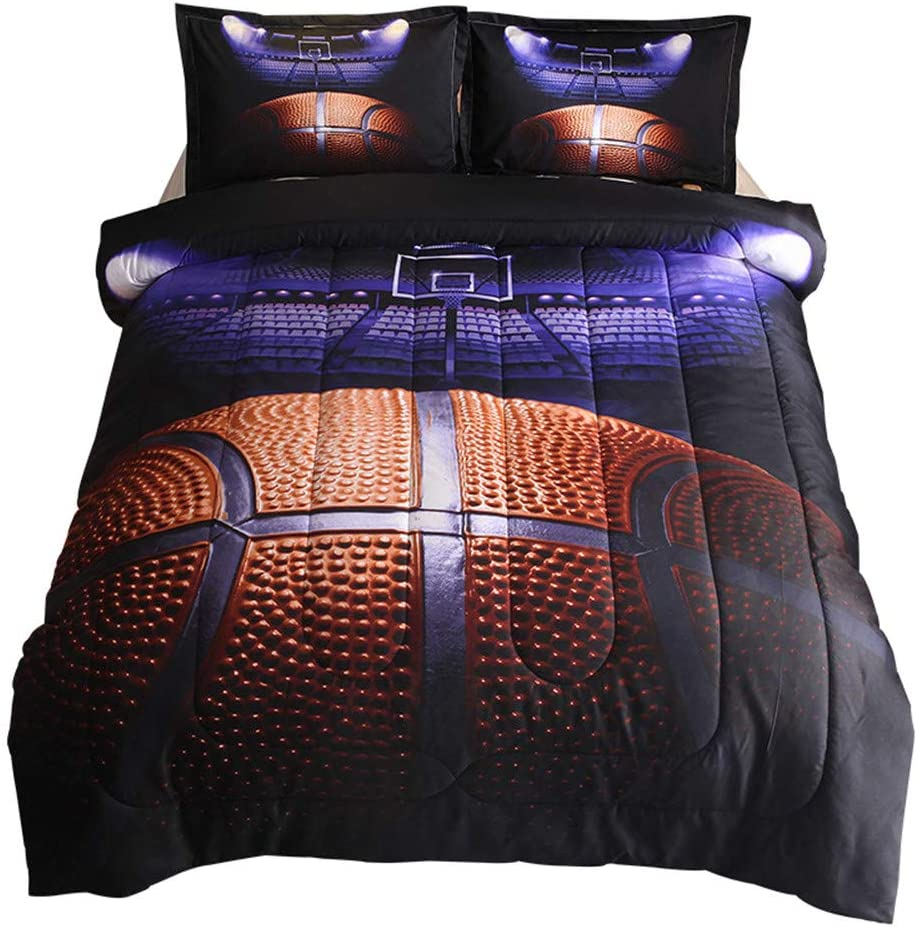 3 Pieces HTgroce 3D Sports Baseball Bedspreads for Boys 2 Pillowcases, 1 Quilt 79x90 Kids and Teens Full//Queen Size