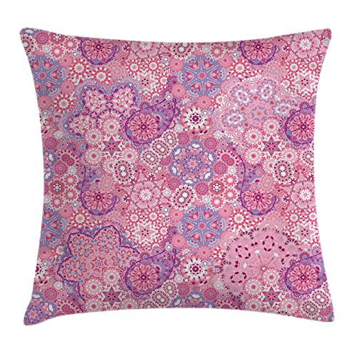 Mauve Decor Throw Pillow Cushion Cover by Ambesonne, Ethnic Indian Bohemian Paisley Pattern Eastern Culture Floral Folk Design, Decorative Square Accent Pillow Case, 24 X 24 Inches, Dried Rose Pink