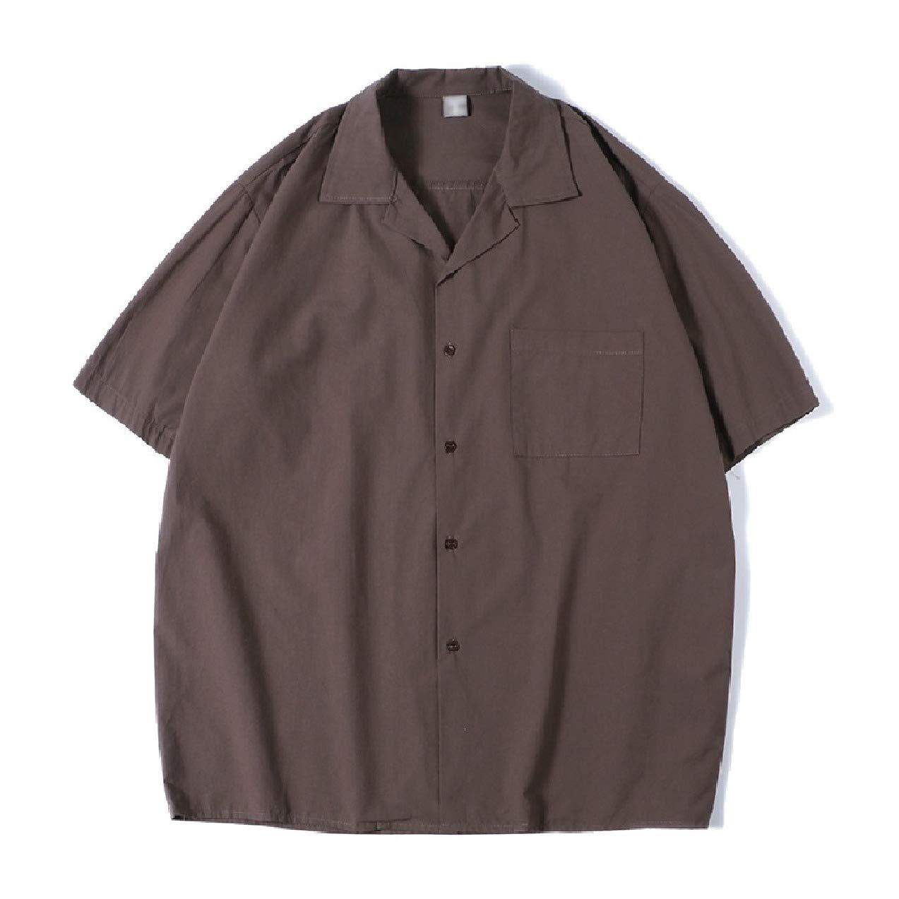 Zimaes-Men Summer Baggy Botton Front Short Sleeve Classic Woven Shirt