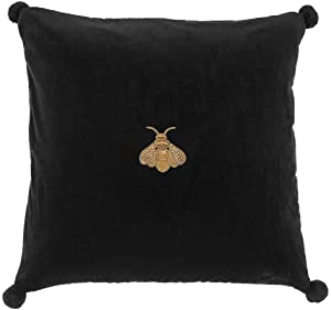 Black BEE Velvet Pillow | EICHHOLTZ Lacombe | Glam Throw Cushion Modern Luxury Home Room Decor | Modern Luxury Decor