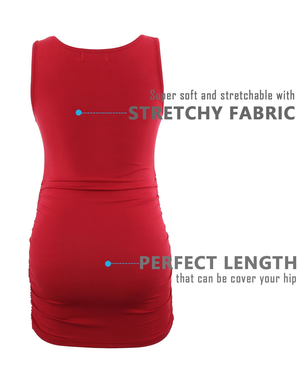 Peauty Maternity Tank Tops Bathing Suit t Shirts Shorts Pregnancy Clothes Women Plus Size 2X 3X (WineRed,XXXL) by Peauty (Image #4)