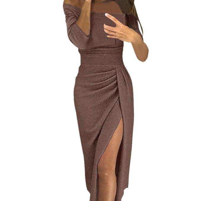 Vestidos de Fiesta Mujer, Lunule Mujeres Vestido Ajustado con Abertura en el Hombro Vestidos de Noche Vestido Mujer Elegante: Amazon.es: Ropa y accesorios