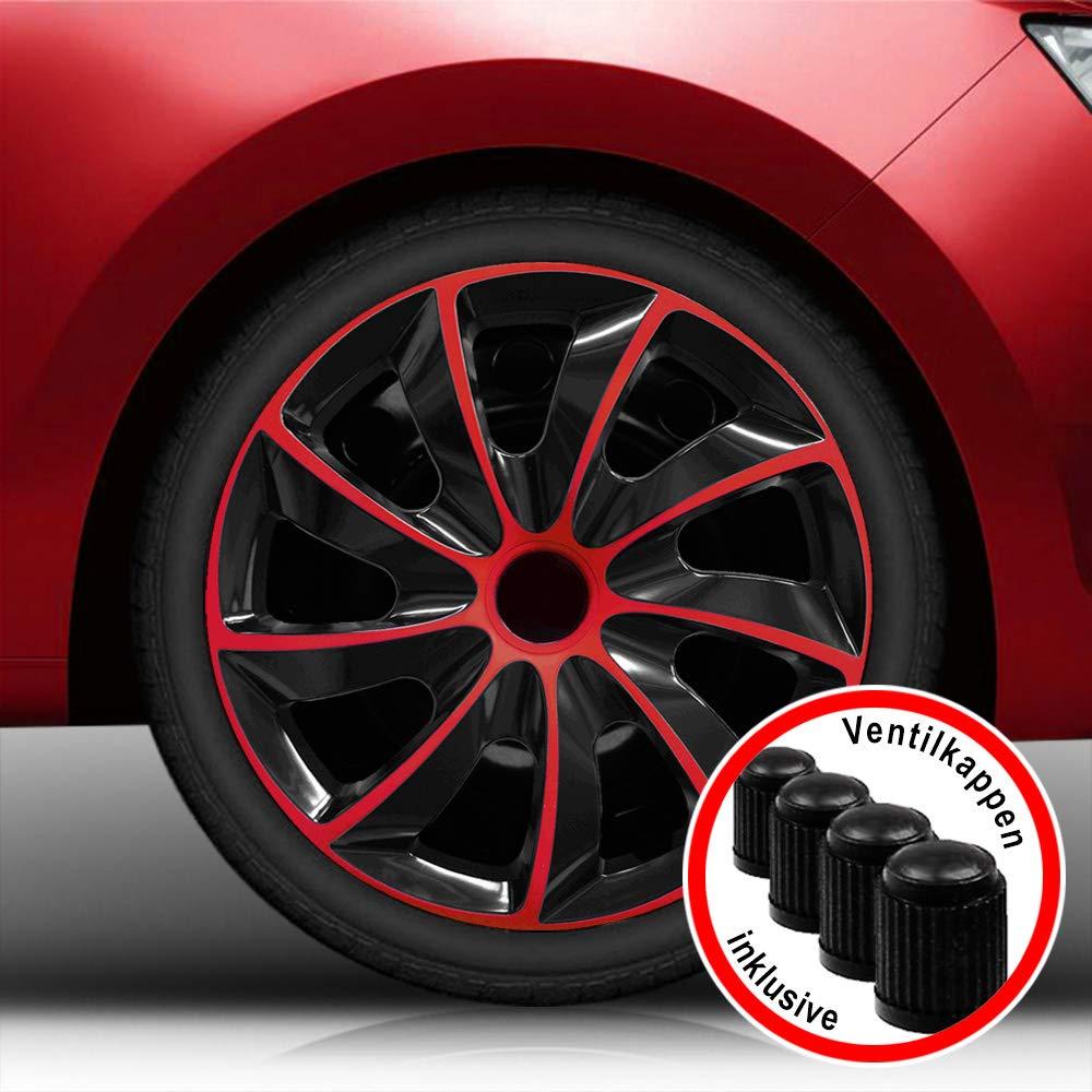 Autoteppich Stylers (Größe wählbar) Bundle 15 Zoll Radkappen/Radzierblenden QuB Bicolor (Schwarz-Rot) passend für Fast alle Fahrzeugtypen – universal
