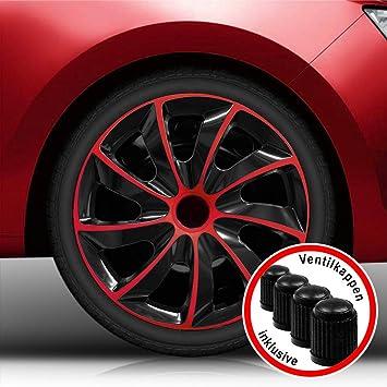 Tapacubos de Koenig Quad bicolor en negro/rojo universal de Tapacubo (BIC Rojo 16