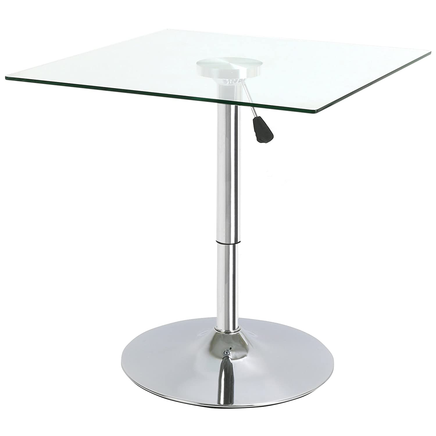 Hartleys Adjustable Height Square Table - Clear Glass