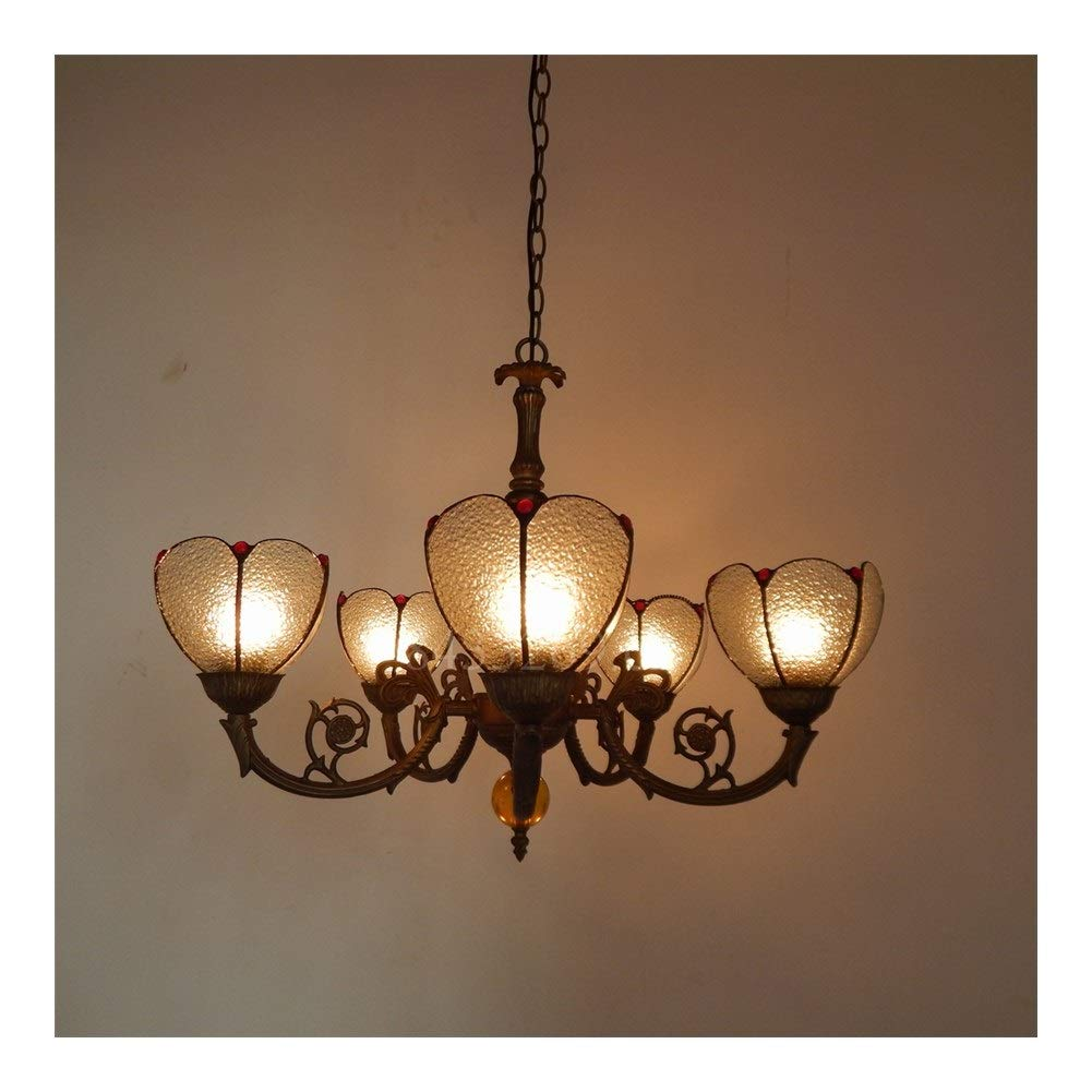 Soft Lighting Handmade Glass Pendant Chandelier with Stained Glass for Home Decoration,5 Arms Drop-Light Handmade