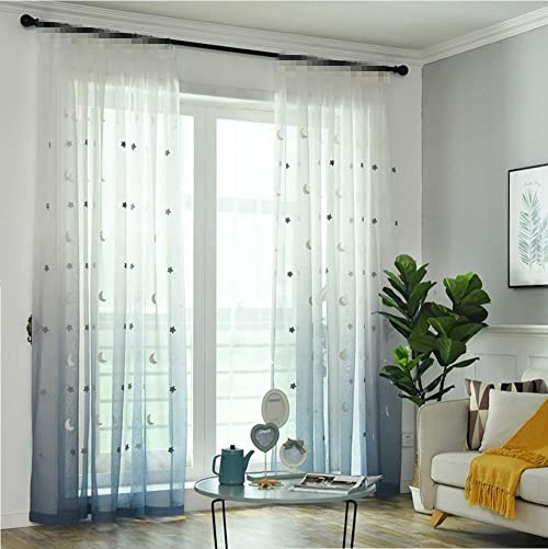 TIYANA Home Decor Stars Embroidery Gradient Sheer Curtain Panels for Living Room Sweet Design Drapery Rod Pocket Top Tulle 96 inch Length Sheer Curtain for Kids Bedroom, 1 Piece 54×96 inch