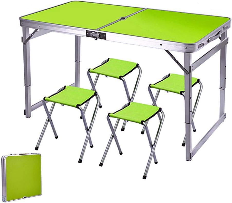 ARG Mesa y sillas plegables para exteriores, ajustable, con agujero para sombrilla, para camping, picnic, fiesta, barbacoa, trabajo (juego verde)