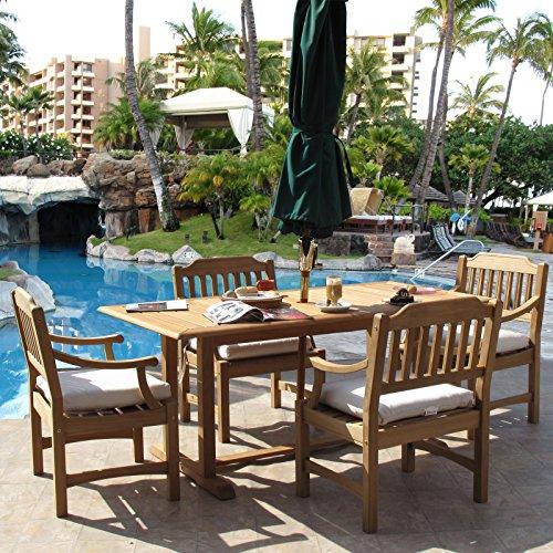 Clayton Premium Grade Teak Dining Furniture 5PC Set Sunbrella (Frontgate Dining Arm Chair Cushion)