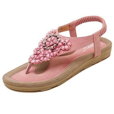 Belloo Sommer Frauen Mode Strand Zehentrenner Leder Flach Sandalen,Aprikose,38