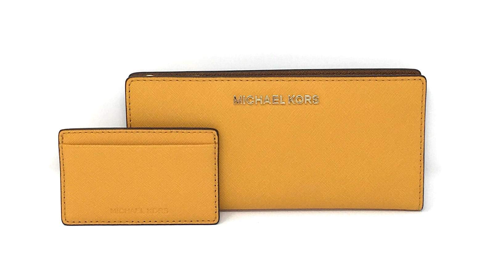 Michael Kors Jet Set Travel Leather Medium Large Card Case Carryall Wallet with Removable ID Card Holder (Marigold/Luggage)