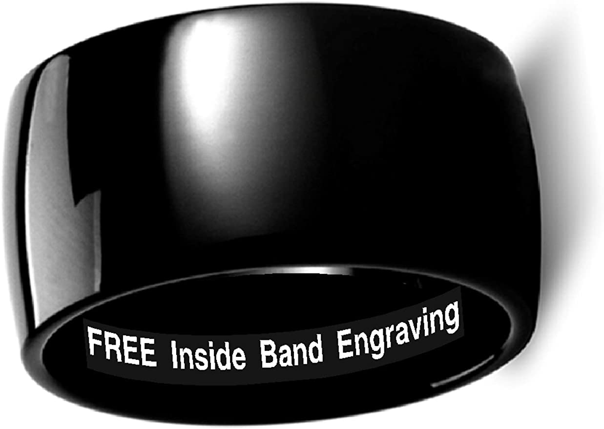 Thorsten Raven Rounded Domed Polished Black Tungsten Ring 12mm Wide Wedding Band from Roy Rose Jewelry