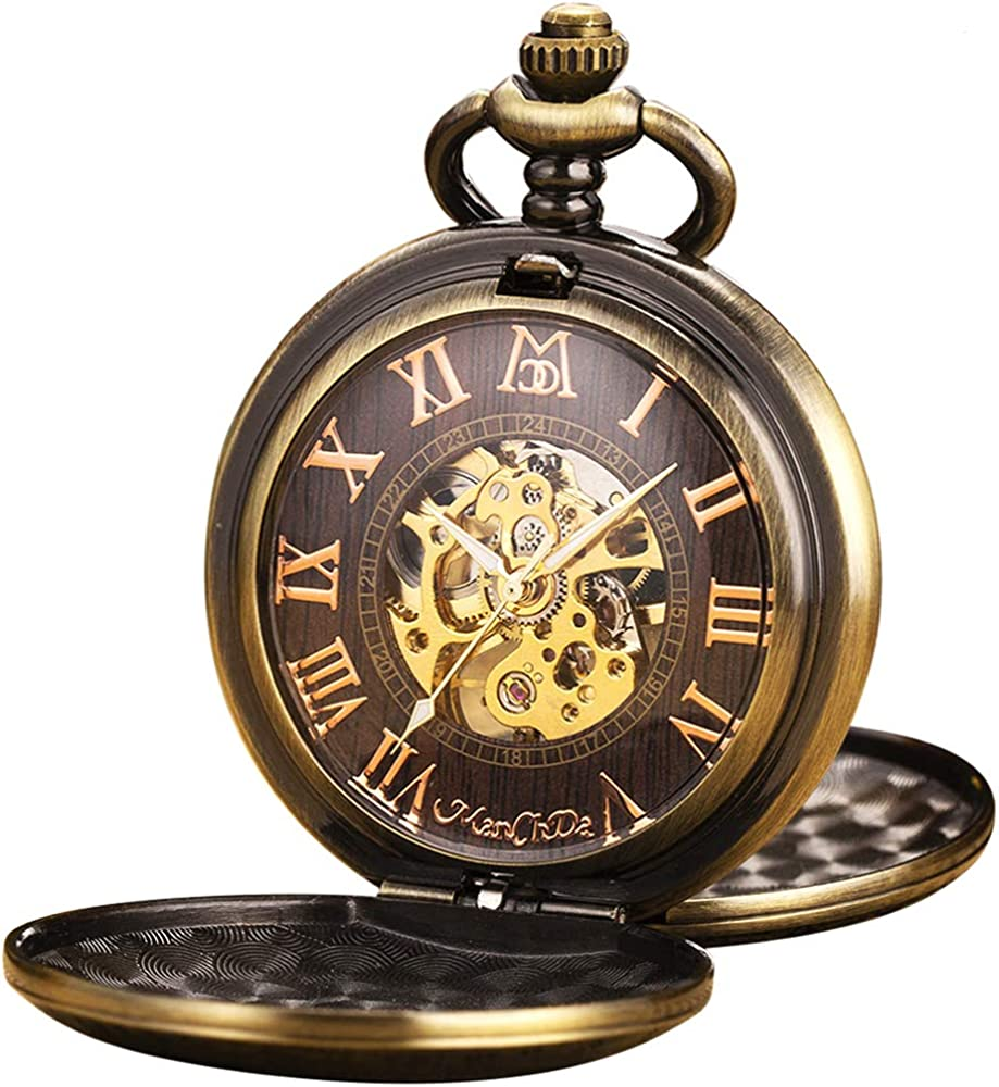 Reloj de Bolsillo - ManChDa Antiguo Mecánico Automático/Cuerda Manual Bronce Tren Tren de Vapor Números de Rumanía 3D para Hombres Mujeres con Cadena + Caja de Regalo (1. MPH012)